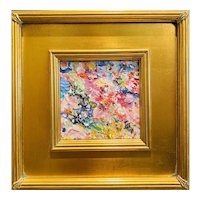 """Abstract Impasto Seascape"", Original Oil Painting by artist Sarah Kadlic, 13x15"" Gilt Leaf Wood Frame"
