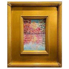"""Abstract Impasto Tree Autumn Landscape"", Original Oil Painting by artist Sarah Kadlic, 12""x12"""