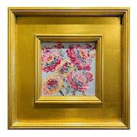 """Abstract Pinks Floral"", Original Oil Painting by artist Sarah Kadlic, 12""x12 Gilt Frame"