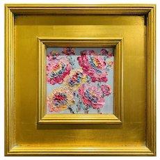 """Abstract Floral Wildflowers"", Original Oil Painting by artist Sarah Kadlic, 12"" x 12"" Gilt Leaf Wood Frame"