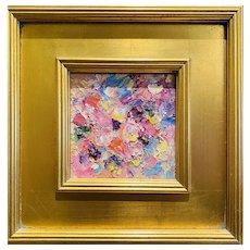 """Abstract Impasto Pinks"", Original Oil Painting by artist Sarah Kadlic, 12x12"" Gilt Wood Frame"