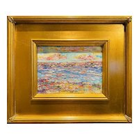 """Abstract Impasto Seascape"", Original Oil Painting by artist Sarah Kadlic 12"" Gilt Wood Frame"
