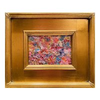 """Abstract Impasto Color Palette "", Original Oil Painting by artist Sarah Kadlic, 12x14"" Gilt Leaf Framed"