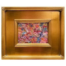 """Abstract Impasto Color Palette "", Original Oil Painting by artist Sarah Kadlic, 12x14"" Gilt Leaf Framed"
