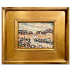 """Abstract Tuscany Is Landscape "", Original Oil Painting by artist Sarah Kadlic, 12x14"" Gilt Frame"