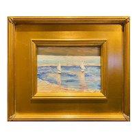 """Impressionist Seascape w/ Sailboats "", Original Oil Painting by artist Sarah Kadlic, Gilt Leaf Wood Frame 11x13"""