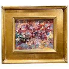 """Abstract Impasto Colors"", Original Oil Painting by artist Sarah Kadlic, 13x15"" with Gilt Leaf Frame"