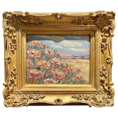 """Abstract Wildflowers Floral Landscape"", Original Oil Painting by artist Sarah Kadlic, 13x15"" with Gilt Leaf Frame"
