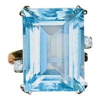 Large Fine Vintage Estate 14k Gold 14.8ct Diamond Aquamarine Art Deco Cocktail Ring