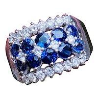 Striking 14k Gold Vintage Retro 2.60ct Blue Sapphire Diamond Cluster Wide Band Ring