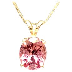 "Gorgeous 14k Gold 3.00ct Oval Pink Tourmaline Pendant with 20"" 14k Gold Box Chain"