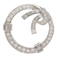 Vintage Midcentury 1950s Retro 14k Gold 2.10ct VS Diamond Baguette Circle Brooch Pendant