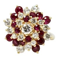 """Vintage Estate 14k Gold """"Exquisite"""" 2.00ct Ruby Diamond Cluster Cocktail Ring"""