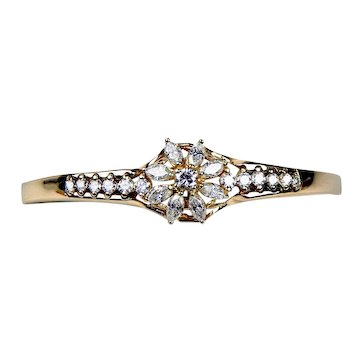 Vintage 14k Gold Floral Diamond Cluster Hinged Bangle Bracelet