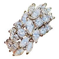 Vintage Mid Century 1950s 14k Gold 3.75ct Diamond Cluster Ring Band