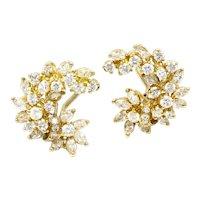 Stunning Vintage 14k Gold Estate 3.25 ct F-G VS Diamond Cluster Earrings