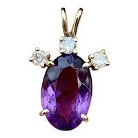 Vintage Midcentury Estate 14k Gold Diamond Oval Amethyst Necklace Pendant