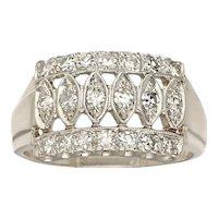 Vintage Art Deco 1940s 14k Gold VS Diamond Tiara Anniversary Band Ring
