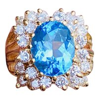 Beautiful Vintage Estate 14K Gold 5ctw Blue Topaz 1.44ct Diamond Cocktail Ring