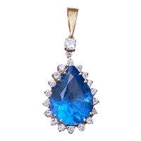 Vintage Estate 14K Gold 16.85ct London Blue Topaz 0.85ct Diamond Pendant 8.5 grams.