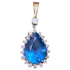 Vintage Estate 14K Gold 16.85ct London Blue Topaz 0.85ct Diamond Pendant 8.5 grams.