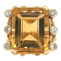Vintage 1970's Estate Large Heavy 16ct Citrine VS Diamond Cocktail Ring Bamboo Detailing