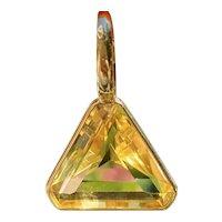 Large Impressive Vintage 18k Yellow Gold 21ct Citrine Trillion Cut Necklace Pendant