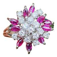 Striking 14k Gold Vintage Retro 1.75ct Ruby Marquise Diamond Cluster Ring