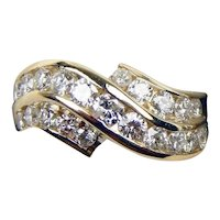 Vintage Estate 14k Gold Yellow Bypass Crossover Diamond Ring