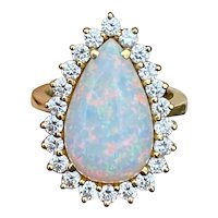 Stunning Vintage Estate 18K Yellow Gold 5.04ct Pear Shaped Opal Diamond Halo Cocktail Ring