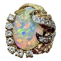 Retro Vintage 1960s Estate Heavy 14k Gold Free Form Opal Diamond Cocktail Ring