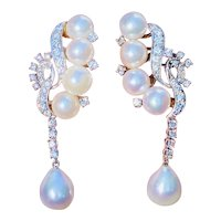 Vintage Art Deco 1940s Estate 14K Gold 1.00ct Diamond Pearl Earrings