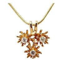 "1970s Retro Vintage 14k Gold 3 Diamond Pendant on Snake Chain Choker Necklace 16"""