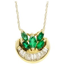 Vintage Estate 14k Gold Marquise Emerald Gemstone & Baguette Diamond Pendant Necklace