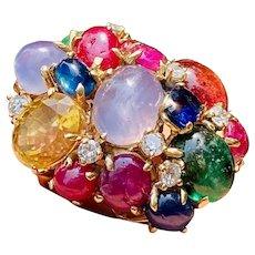 Impressive Vintage Estate 14kt Gold Sapphire Ruby Emerald Diamond Gemstone Statement Ring