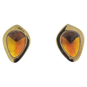 Lovely Vintage 1970s 14k Gold Amber Gemstone Drop Earrings with Pierced Backs