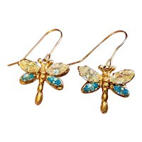 Vintage 1980s Estate 14k Gold Butterfly Blue Yellow Topaz Dangle Drop Earrings