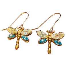 Vintage 1980s Estate 14k Gold Butterfly Blue Yellow Topaz Dangle Drop Earrings