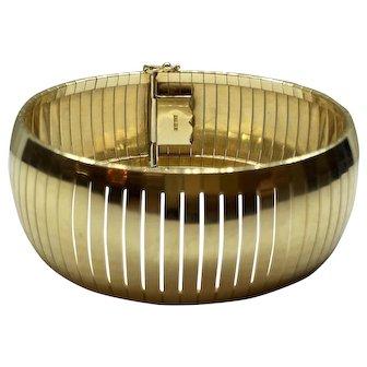 Large Wide 14K Gold Flexible Tubagos Omega Style Bracelet Cuff Bangle Bracelet