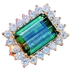 Vintage Estate 14k Gold 6.20 ct Green Tourmaline Diamond Cocktail Ring