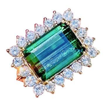 Vintage Estate 14k Gold 6.20 ct Green Tourmaline Diamond Cocktail Ring