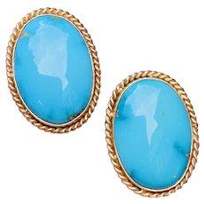 Vintage Estate Large 1950s 14k Turquoise Cabachon Drop Clip Earrings
