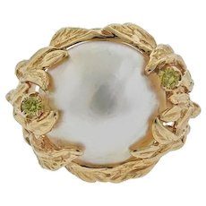 Beautiful 14k Gold Large Free Form Mabe Pearl Cocktail Ring with Gemstones