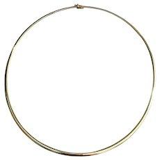 """Estate 14k Gold 18"""" Collar Omega Slider Pendant Necklace 19g"""
