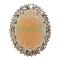 Vintage Estate 14k Gold Large Opal Diamond Halo Cocktail Ring