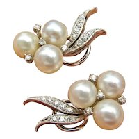 Vintage Mid Century Estate 14k Gold Cultured Pearl Diamond Omega Clip Back Drop Earrings