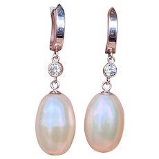 Vintage Estate 14k Gold Cultured Pearl VS Diamond Drop Dangle Earrings