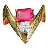 Vintage Designer Modernist 14K Gold Vivid Pink Tourmaline Diamond Cocktail Ring