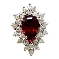 Stunning Vintage Estate 4.40 carat Rubellite F VS Diamond Cocktail Ring