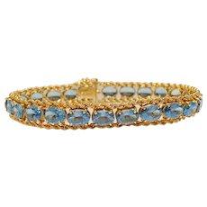 Vintage Retro Estate 14k Gold 17ct Blue Topaz Line Tennis Bracelet